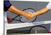 Post tennis match handshake
