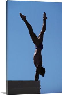 Silhouette of male diver on platform