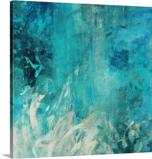 Aqua Falls Photo Canvas Print Great Big Canvas