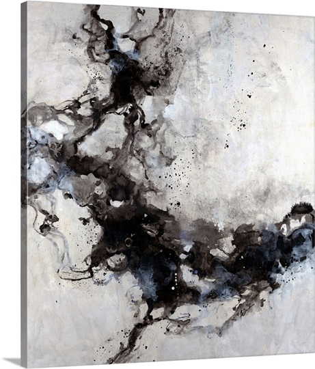 Big Canvas Art Modern Watercolor Abstract Ink Splash Big: Osmosis II Photo Canvas Print