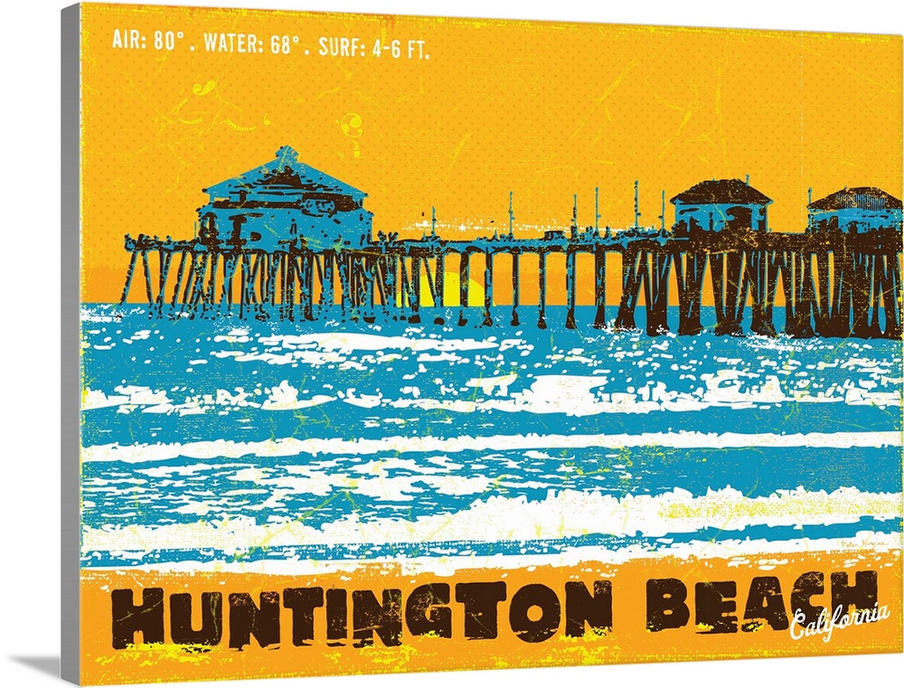 Huntington Beach Wall Decor : Premium thick wrap canvas wall art entitled huntington