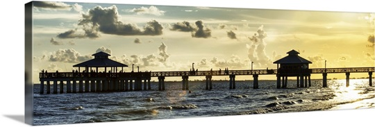 Fishing pier fort myers beach at sunset photo canvas for Fort myers fishing pier