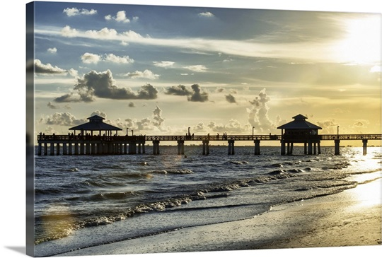Fishing pier fort myers beach photo canvas print great for Fort myers beach fishing pier