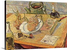Still Life with Onions and Drawing Table