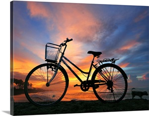 sunset bike photo canvas print great big canvas. Black Bedroom Furniture Sets. Home Design Ideas