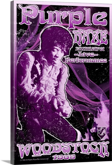 Jimi Hendrix Woodstock Purple Haze3 Photo Canvas Print