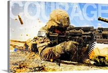 Air Force Grunge Poster: Courage. U.S. Air Force soldier fires the Mk48 gun
