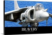 Air Force Poster: An AV-8B Harrier jet lands on the flight deck of USS Peleliu