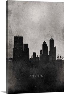 Black and White Minimalist Boston Skyline