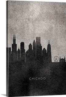 Black and White Minimalist Chicago Skyline