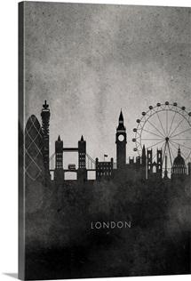 Black and White Minimalist London Skyline