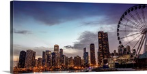 Chicago City Skyline with Ferris Wheel in Foreground, in the Evening