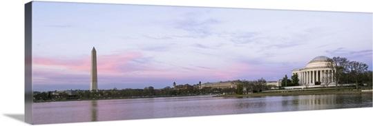 Jefferson Memorial and Washington Monument at Dusk, Washington, DC