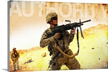 Military Grunge Poster: Authority. A soldier firing his Mk-48 machine gun