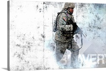 Military Grunge Poster: Bravery. A soldier races through a smoke screen
