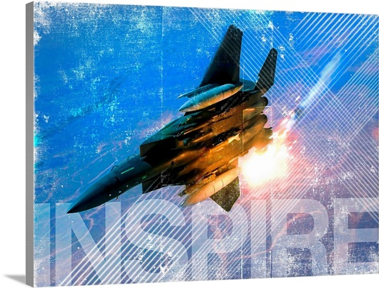 Military Grunge Poster: Inspire. An F-15E Eagle pops flares during a combat sortie
