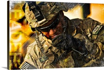 Military Grunge Poster: Leaders. U.S. Army soldier communicates to his crew on his radio