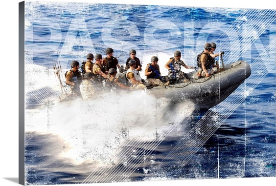 Military Grunge Poster: Members of a team maneuver in a rigid-hull inflatable boat