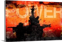 Military Grunge Poster: Power. The setting sun silhouettes the  USS Makin Island