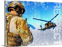 Military Grunge Poster: Respect. A pararescueman awaits the landing of an HH-60