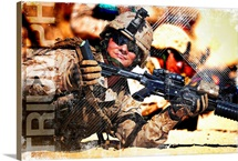 Military Grunge Poster: Triumph. A Marine shows his cleared weapon to an instructor