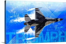 Military Grunge Poster: Triumph. An F-16 Fighting Falcon pulls high G's