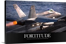 Military Motivational Poster: An F/A-18C Hornet launches from the aircraft carrier