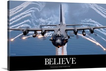 Military Poster: An AC-130H Gunship aircraft jettisons flares as a countermeasure