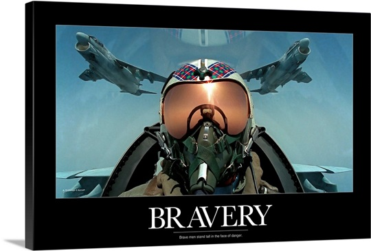 Military Poster: Brave men stand tall in the face of danger