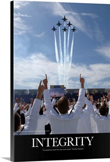 Military Poster: Members of the U.S. Naval Academy cheer as the Blue Angels perform