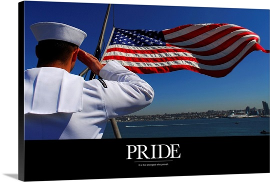 Military Poster: Pride, A sailor salutes the American flag