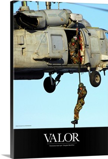 Military Poster: Soldier fast ropes from an SH-60 Seahawk