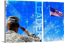 Motivational Grunge Poster: Leaders. A soldier salutes the American Flag