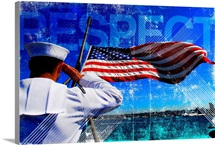 Motivational Grunge Poster: Respect. A sailor salutes the American flag