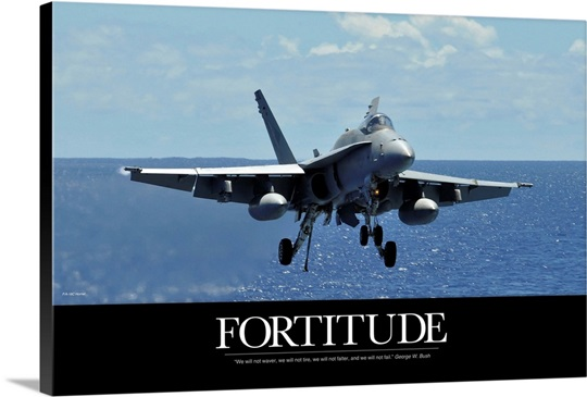 Motivational Poster: An F/A-18C Hornet approaches the flight deck