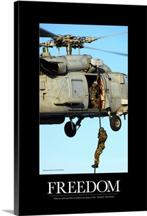 Motivational Poster: Soldier fast ropes from an SH-60 Seahawk