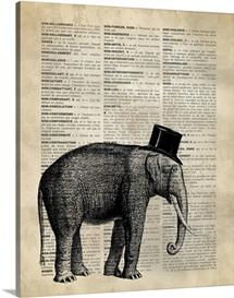 Vintage Dictionary Art: Elephant