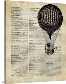 Vintage Dictionary Art: Hot Air Balloon 2
