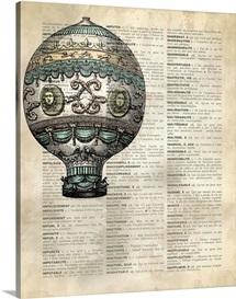 Vintage Dictionary Art: Hot Air Balloon 3