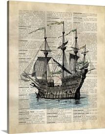 Vintage Dictionary Art: Ship