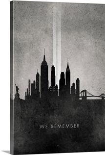 We Remember - 911 NYC minimalist skyline
