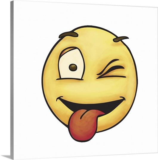 Winking Tongue Out Emoji Photo Canvas Print | Great Big Canvas