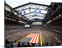 An America Flag Spans Lucas Oil Stadium