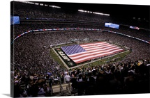 An American Flag Spans New Meadowlands Stadium