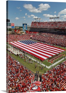 An American Flag Spans Raymond James Stadium