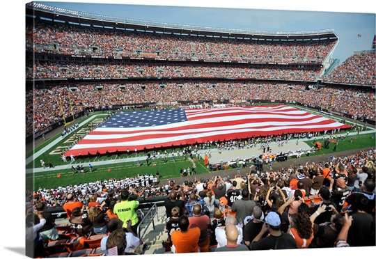 An American Flag Stretches Across Cleveland Browns Stadium