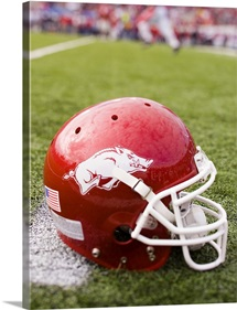 Arkansas Football Helmet on the Field