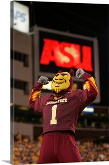 ASU Pictures Sparky and an ASU Sign