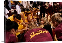 ASU Pictures Timeout Huddle with Coach Charli Thorne