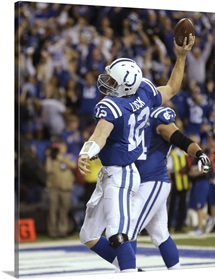 Colts Andrew Luck celebrates touchdown against Chiefs, wild-card playoff, 2014